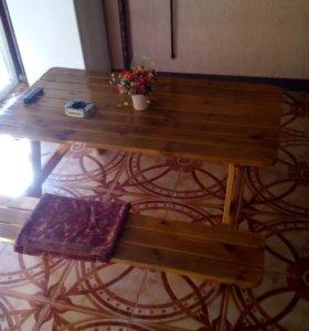Обеденный стол разборный с раздвижными лавочками