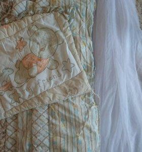 Бортики и балдахин(с подставкой) в кроватку