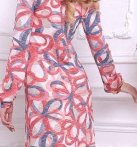 Платье Коралл цветы, мягкий трикотаж