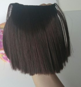 Челка накладная искусственные волосы шатенка