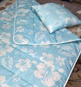 Одеяло овечья шерсть с подушкой.Новые