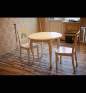 Стол кухонный натуральное дерево в подарок 2 стула