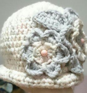 Шапка - шляпка вязаная