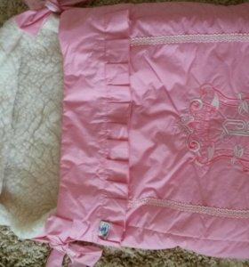 Конверт-одеяло на овчинке (весна-осень-зима)