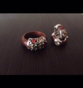 Комплект серебро кольцо+серьги с камнями