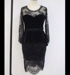 Новое шикарное бархатное платье с кружевом
