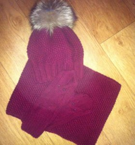 Комплект шапка+снуд+варежки