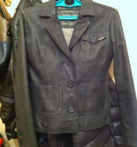 Кожаный пиджак-куртка