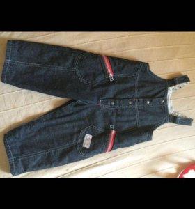 Брендовый детский джинсовый комбинезон