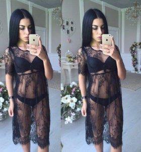 Платье кружевное\ туника новая чёрная без подклада