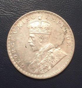 Монета Индии 1919 г. 1 рупия Георг V, серебро