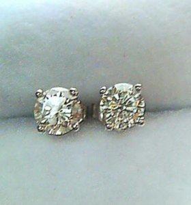 Серьги-пусеты с бриллиантами 1,19кт