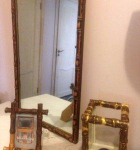 Зеркало фоторамка подсвечник бамбук