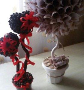 Топиарий из настоящих кофейных зерен