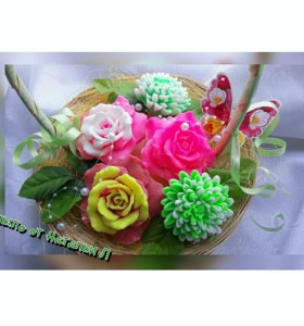 Мыло ручной работы-корзина цветов