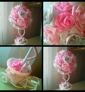 Букет из роз в оригинальном кашпо