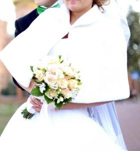 Свадебное платье+фата+накидка