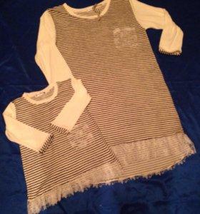 Одинаковые морские платья туники мама дочка.