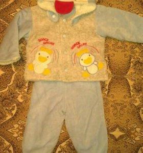 Детский тёплый велюровый костюм.