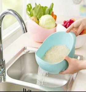 Чаша для мытья круп и овощей (дуршлак+миска)
