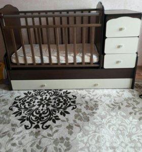 Детская кроватка трансформер маятник.