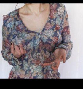 Шифоновая юбка и блузка