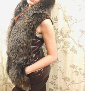 Жилетка-куртка кожаная с натуральным мехом