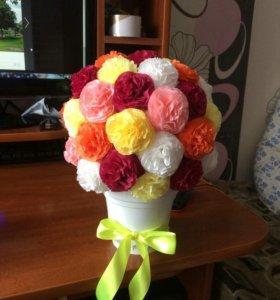 Цветы из салфеток в горшочке