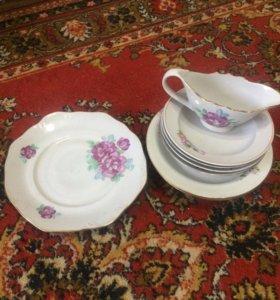 Столовые тарелки цветочек фарфор из 10  предметов