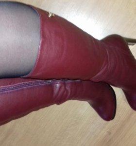 Новые кожаные сапоги зима 39 р