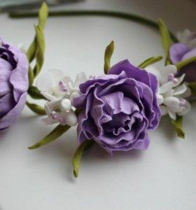 Ободок цветы фоамиран