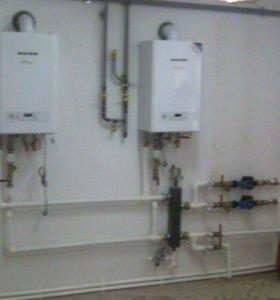 Монтаж отопления, водопровода.