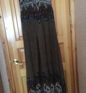 Длинное шифоновое платье- сарафан 50-54