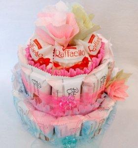 Торт из конфет, сладкий подарок.