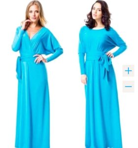 Платье длинное в пол бирюзовое
