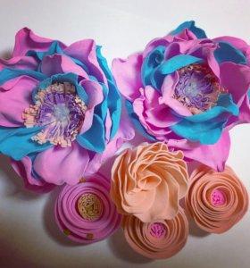 Цветы ручной работы( на заколки, резинки, повязки)