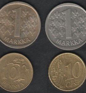 4 монеты Финляндии