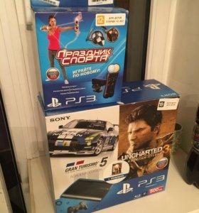 PS3+PS MOVE+PS EYE+ 2 безпроводных джостика+6 игр.