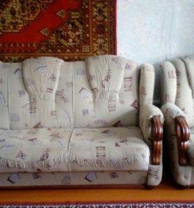 Диван раскладной + кресло