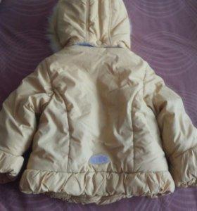Продам зимнюю теплую куртку на девочку б/у