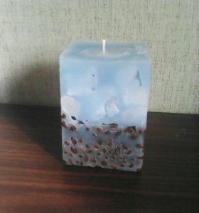 Мраморная свеча с добавлением кофе