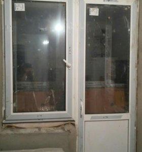 Окно ПВХ и дверь , двухкамерный стеклопакет . Выс