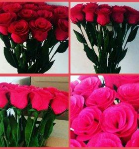 розы из гофрированной бумаги!!!