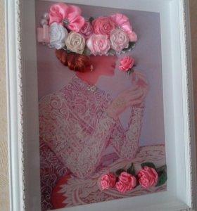 Мадам с розами