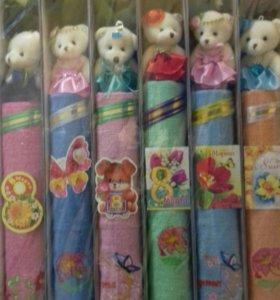 Полотенце подарочное в комплекте игрушка ,цветок