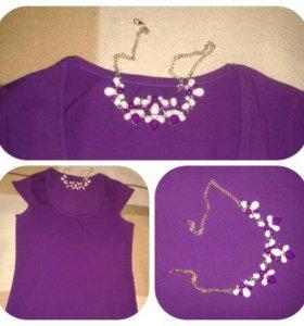 Фиолетовая, облегающая футболка
