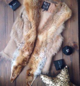 Меховой жилет лиса. Натуральный мех