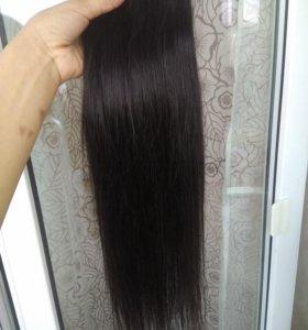 Натуральные волосы 50см на трессе