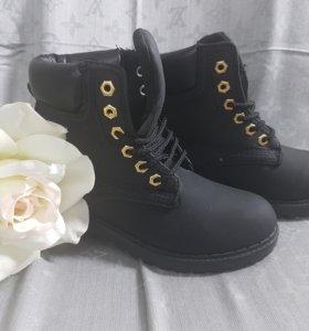Ботинки черные под Тимберленд
