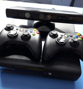 Xbox 360E 500gb с кинектом + 2 джостика и 9 игр